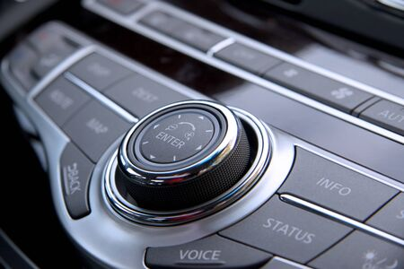 Close up shot of luxury car audio controls  版權商用圖片