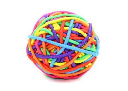 Colorful ball made up of girl's rubber bands Banque d'images