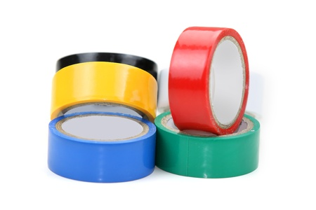 Five different color electrical insulation tapes photo