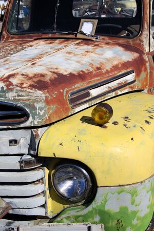 Close up shot of weathered old car photo