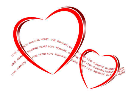 romance: An illustration of bright shiny red hearts with text flow