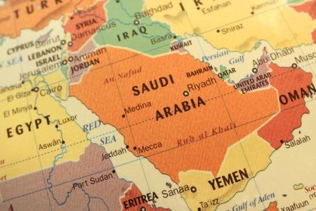 Kaart van Saoedi-Arabië en golf landen op wereldbol Stockfoto