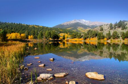 Scenic O Haver lake in Colorado in Autumn  time photo