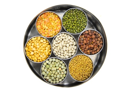 Healthy colorful raw food grains of India Фото со стока