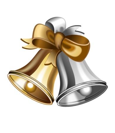illustratie van glanzende gouden en zilveren jingle bells