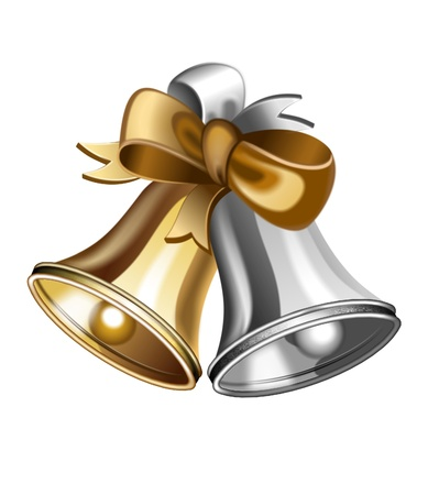ribbons hang: illustration of shiny golden and silver jingle bells