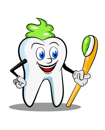 illustrated cartoon of tooth with paste photo