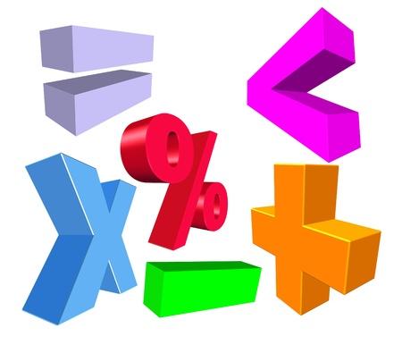 mathematics symbol: illustration of 3d colorful math symbols Stock Photo