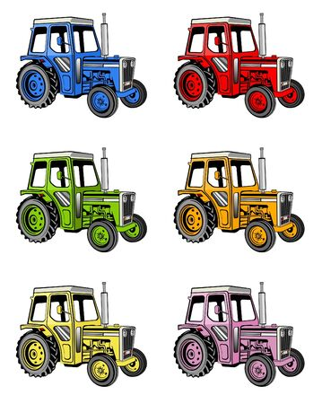 yellow tractors: illustration of different colored farm tractors Stock Photo
