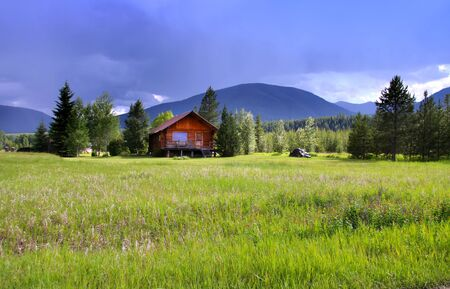 cloudy home: Rural landscape in Montana Stock Photo