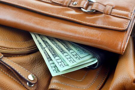 Stack of leather purses with 20 dollar money notes photo