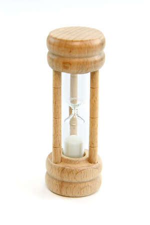 Wooden hour glass isolated on white background Stock Photo