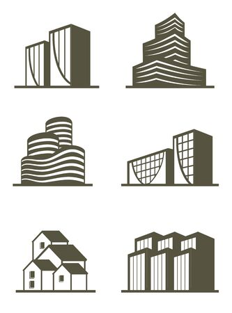 green buildings: An illustration of real estate building icons