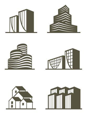 edificios: Una ilustraci�n de bienes ra�ces, construcci�n de iconos