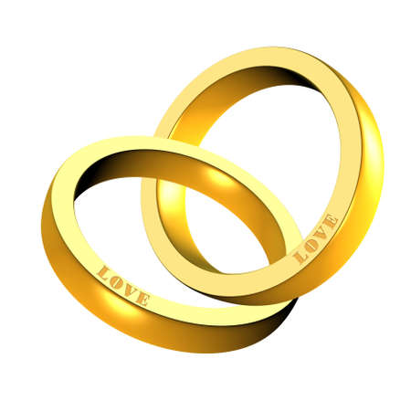 togetherness: An illustration of 3d shiny golden rings