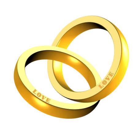 Eine Abbildung der 3d glänzenden goldenen Ringe  Standard-Bild - 9141821