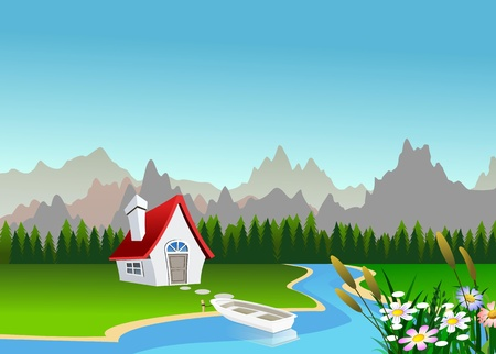 vibrant cottage: Scenic landscape illustration Stock Photo