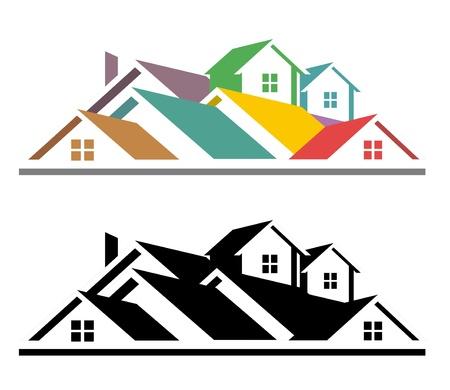 toiture maison: Une illustration de l'ic�ne immobilier color� et noir et blanc r�el