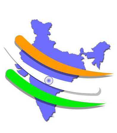 An illustration of blue India map with flag stripes