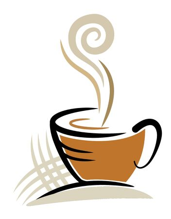 coffee beans: An illustration of coffee cup made with line art