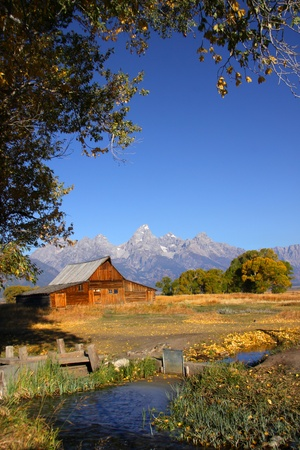 Historic Mormon barn in the  Grand Tetons national park Stock Photo