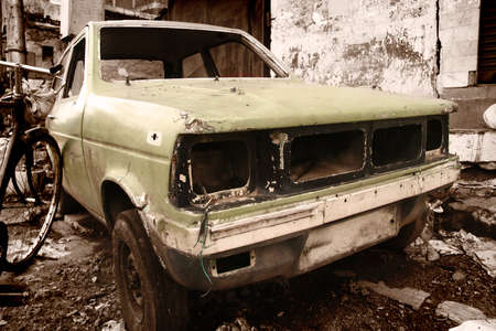 rustic car in junk yard in sepia color tone Stock Photo - 9141914