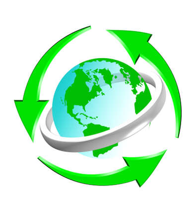 An illustration of recycle icon with green globe Reklamní fotografie - 9141898
