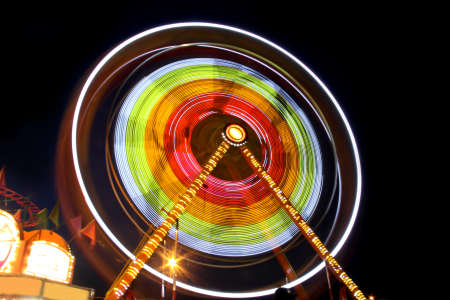 Long exposure of carnival wheel in night time photo