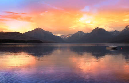 Lake McDonald largest lake in Glacier national park photo