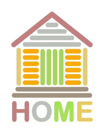 Colorful home icon made with line art