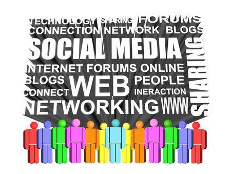 소셜 미디어 및 네트워킹 아이콘의 3d 아이콘