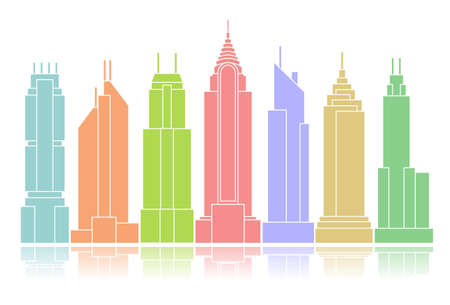 Colorful skyscraper icons arranged in a row photo