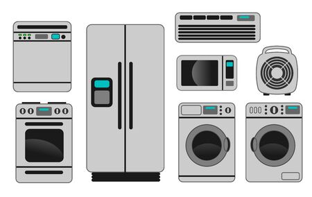 appliances: An illustration of different home appliances on white background