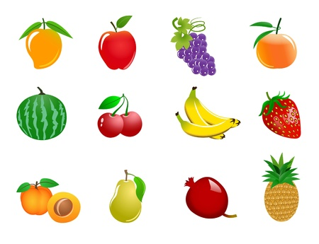 An illustration of different colorful fruit icons