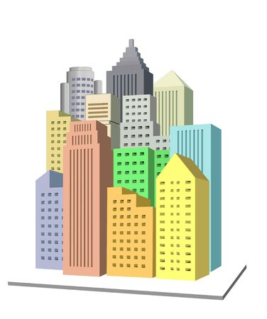 city building: An illustration of 3d city icon with colorful buildings