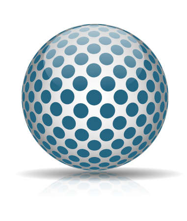 Abstract ball with blue circles  isolated on white background