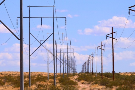 Row of high voltage tower electrical lines  Stock Photo - 9785537