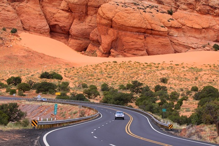 Scenic winding drive through the desert in Arizona photo
