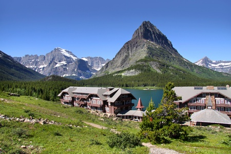scenic landscape of many glaciers and resort photo