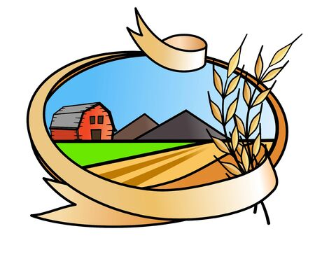 illustration of  farm banner icon  with wheat straws
