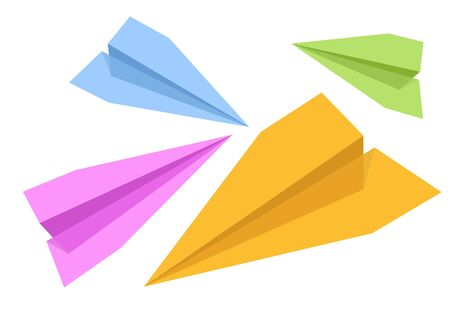 An illustration of different color paper rockets