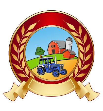 An illustration of shiny farm banner icon  Stock Illustration - 10202090