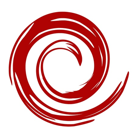 An illustration of red swirl on white background Banco de Imagens