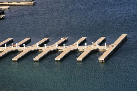 Empty boat dock on the lake aerial view photo