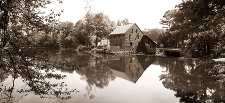 Panoramic view of Yates mill state park in sepia color photo