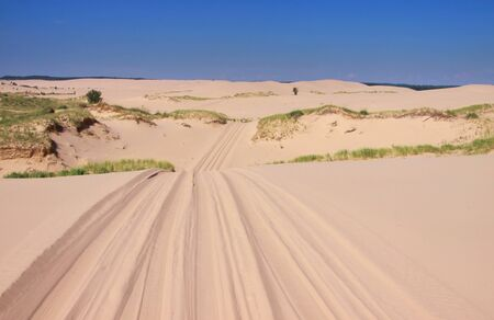 off track: Drive through sand dunes near Lake Michigan Stock Photo