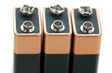 9v battery: Three nine volt batteries isolated on white background  Stock Photo