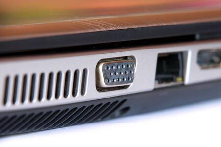 sleek: External monitor connector on sleek laptop