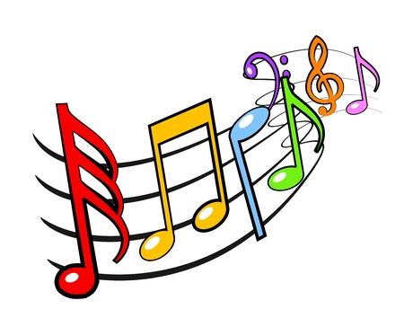 An illustration of colorful musical notes illustration