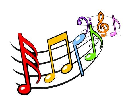 Een illustratie van kleurrijke muzieknoten